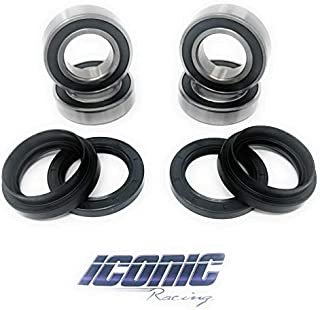 Iconic Racing Both Front Wheel Bearing and Seal Kits Compatible with Suzuki Vinson 500 Eiger 400 2x4 4x4 2002-2007