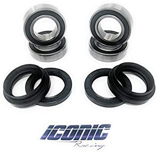 Iconic Racing Both Front Wheel Bearings and Seals Kits Compatible With 04-13 Yamaha Rhino 450/660 / 700