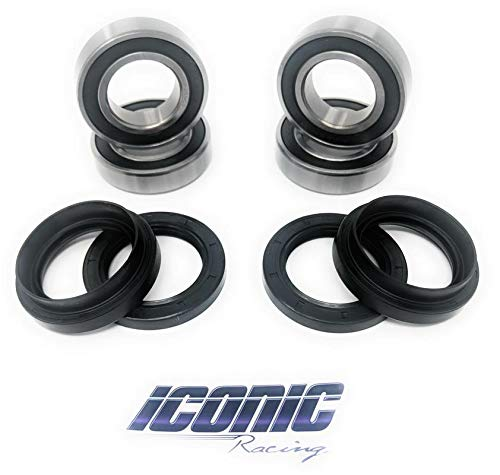 Iconic Racing Both Front Wheel Bearing and Seal Kits Compatible with Yamaha Bruin 350 Big Bear 350 Big Bear 400 2x4 4x4 1987-2012