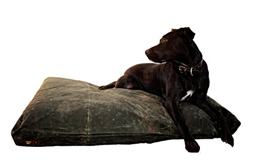 Fireside Hound - Large, Tear & Puncture Resistant Dog Bed that's Hypoallergenic & Repels Dust Mites! Handmade Pet Bed that is Easy to Clean! Indoor & Outdoor use. Olive, Waxed cover with Wool Pillows!