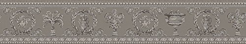 Versace wallpaper Bordüre Vanitas klassisch neo-barock 5,00 m x 0,09 m beige grau metallic Made in Germany 343053 34305-3