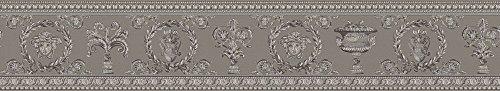 Versace wallpaper Vliestapete Vanitas Luxustapete mit Ornamenten barock 5,00 m x 0,09 m beige grau metallic Made in Germany 343053 34305-3