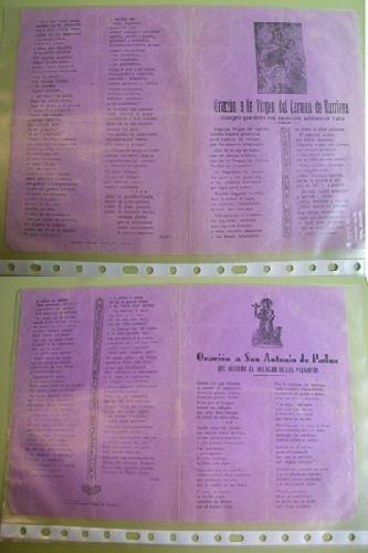 ROMANCES : Oración a San Antonio de Padua que refiere el Milagro de los Pajaritos; Oración a la Virgen del Carmen de Burriana, Milagro que obró con un devoto soldado en Cuba