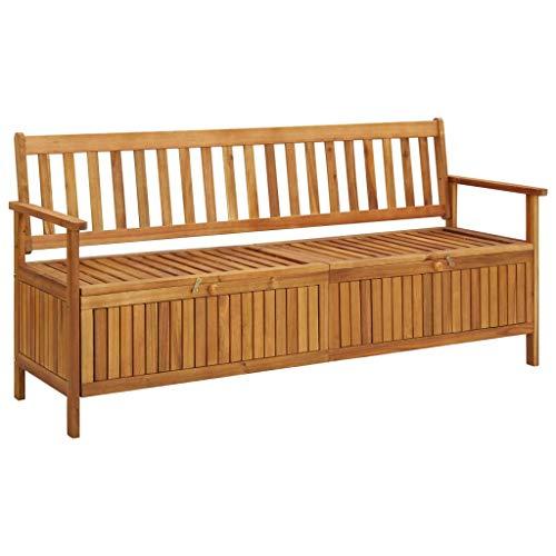 vidaXL Banco de almacenaje de jardín madera maciza acacia 170 cm