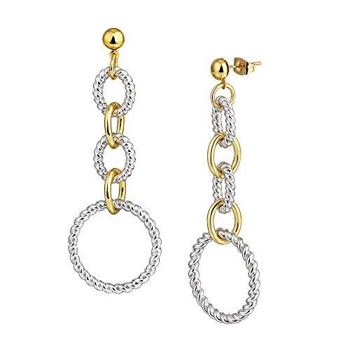 Mytys Cable Link Drop Earrings for Women Designer Brand Unique Two Tone Dangle Earring...