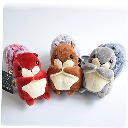 Ruluti 3pcs Boutique 10 * 13cm New Cute Toy Plush Keychains Toys Bag Car Buckle