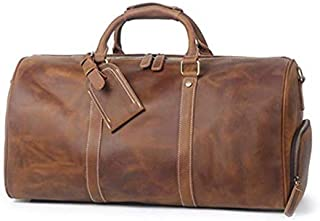 TUZECH Handmade Vintage Crazy Horse Leather Duffle Bag Travel Bag with Shoes Compartment S12026
