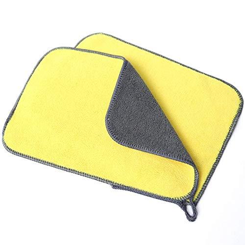 Toalla de Lavado de Coches Suave paño de Limpieza de Vidrio de Microfibra toallitas para el Cuidado de la Motocicleta paño de Borde con Detalle 30 * 60 cm - Amarillo, 20x30 cm
