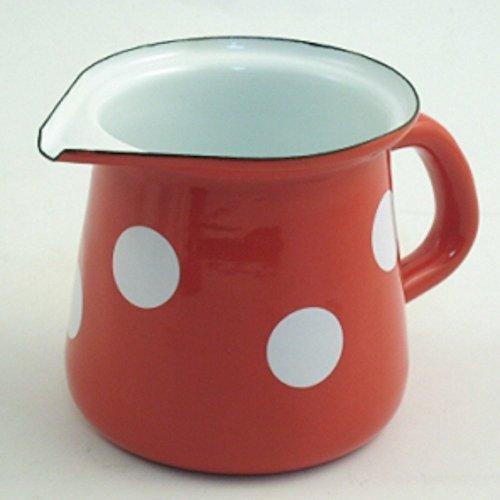Münder Emaille - Milchkännchen, Sahnegießer, Gießer - Farbe: Rot mit weißen Tupfen - 400 ml