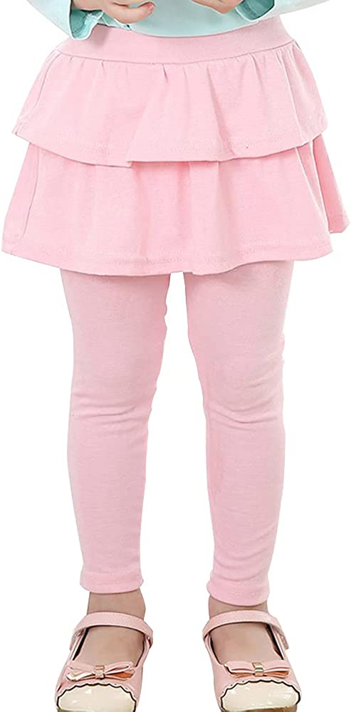 SHOOYING Little Girls Elastic Waist Footless Leggings with Ruffle Skirt