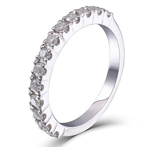 DovEggs 0.4CTW HI 2.26mm Width Moissanite Lab Created Diamond Half Eternity Wedding Band 925 Silver for Women (6)