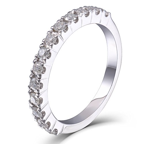 DovEggs 0.4CTW HI 2.26mm Width Moissanite Lab Created Diamond Half Eternity Wedding Band Platinum Plated Silver for Women(6.5)