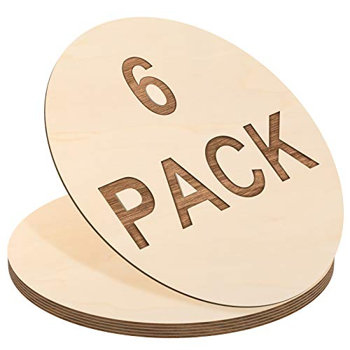 6 Pieces Round Wood Circles Unfinished Wood Slices Cutout for Craft Door Hanger, Pyrography, and Painting (24 Inch)