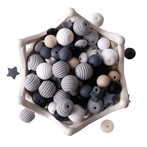 HAO JIE Baby Silicone Teether Beads 100pcs BPA Free Food Grade Teething Beads Black and White Ser...