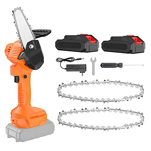 HYDT Mini Motosierra, Kit de Motosierra eléctrica sin Cable de 4 Pulgadas, Motosierra de Mano portátil para Uso Diario de Motosierra Recargable con Chainsaw 1