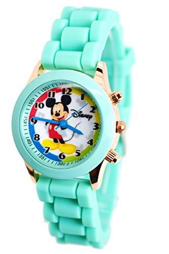 Disney Reloj Mickey Mouse con botones de moda en caja de lápiz/gafas, pequeña pantalla analógica.