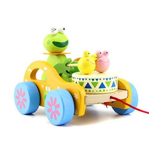 Bonbela Holz Nachzieh-Spielzeug Kaninchen/Frog Beat-Drum Holz Pull Spielzeug für Baby-Jungen-lustige Spielwaren