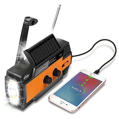 Efluky Solar Radio Am/FM/NOAA Radio de manivela Radio de Emergencia Recargable USB portátil con Banco de energía de 4000 mAh Linterna LED Alarma SOS y luz de Lectura para Camping Viajes (Naranja)