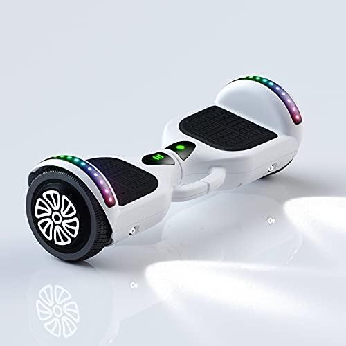 Scooter autoequilibrado de 2 ruedas de 6.5'3 velocidades Carga máxima ajustable Límite de velocidad de 100 kg / 220 lb y protección de batería baja con luz LED de diente azul