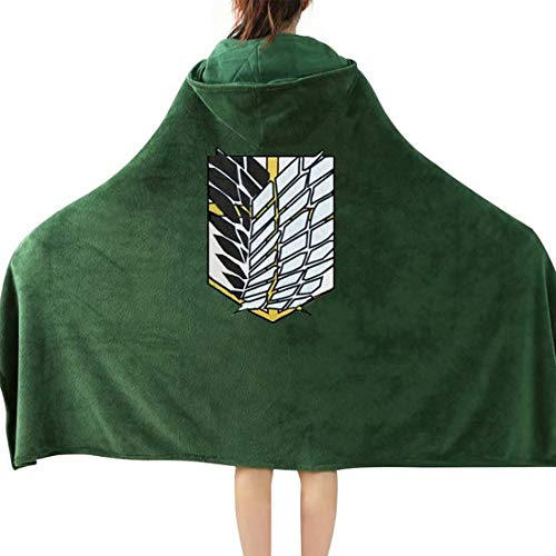 Kuberas Attach ON Titan AOT The Wings of Freedom Cloak Shawl Blanket Flannel Wrap Cape Nap Quilt Cosplay Costume 63x43 inch