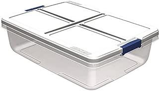 Hefty 34-Quart Latch Box, Clear Base, White Lid and Blue Handle