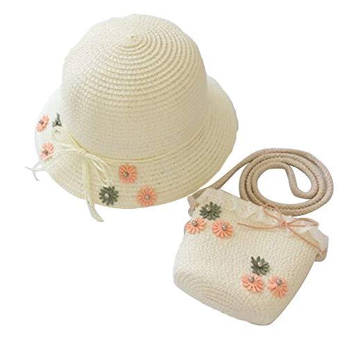 AZXAZ Mädchen Stroh Sonnenhut Mit Tasche Süß Kleinkind Baby Blumen Mütze sollte Sich Taschen Set Outdoor Sommer Strohhut Geldbörse Fit für 2-7 Jahre Kinder (Milchig Weiß)