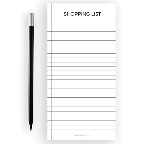 Friendly Fox Lista de la compra magnética – Bloque de lista de la compra – 1 x bloque magnético para nevera con 50 listas de la compra y lápiz magnético – Bloque para nevera (blanco y negro)
