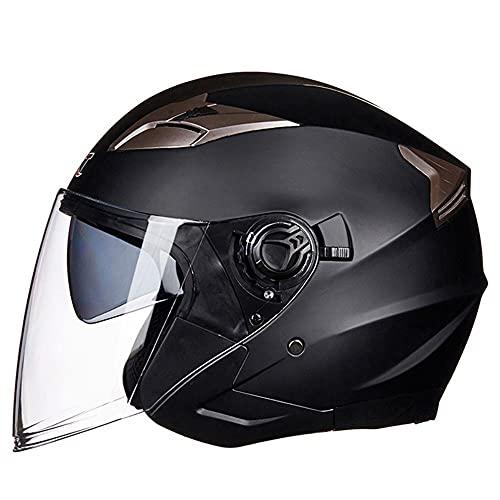 BCCDP Casco Moto Jet Hombre - Casco Moto Abierto con Doble Visera - Baratos Scooter Motocicleta Vintage Casco, ECE Homologado Casco Moto para Mujer Hombre Adultos M~XL