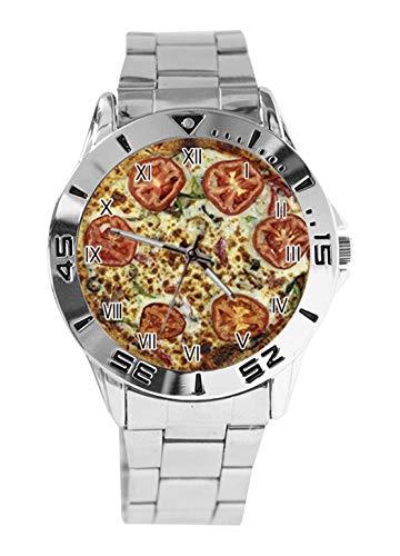 Veggie Pizza Damen Herren Uhren Analog Quarz Armbanduhr Edelstahl Uhren