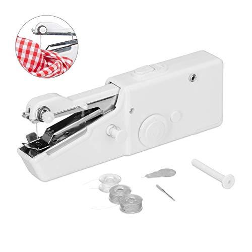Relaxdays, weiß Hand-Nähmaschine, inklusive Zubehör, kompaktes Format, für Kleidung, Stoff, auf Reisen, H x B: 7,5x21 cm, Standard