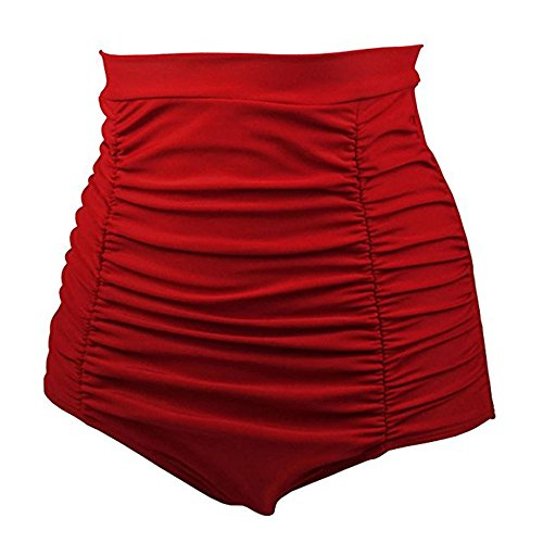 GJKK Damen Bikinislip Frauen Retro hoher Taille Bikini Hose Shorts Bauchweg Bikinihose Panty Badehose Tanga String Rüschen Brazilian Sexy Bikini Slip Unterwäsche Schwimmhose