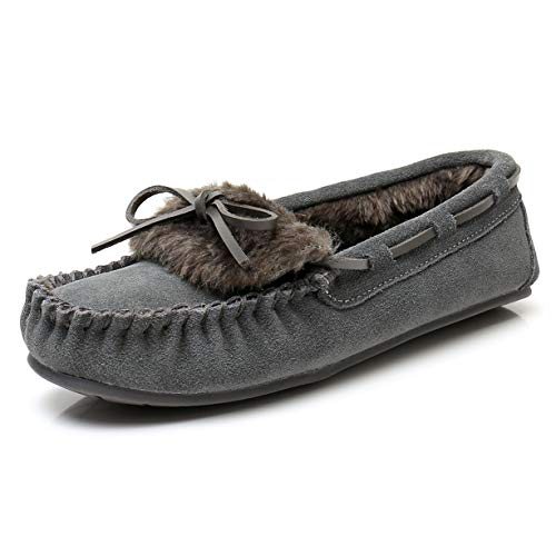 Suede Moccasin Slippers for Women - Faux Fur Memory foam House Slippers for women ( 7 M US, Grey )