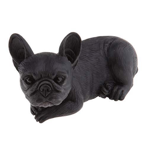 homozy Resin Craft Dog Figurines French Bulldog Model - Black Lying Down
