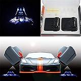 2pcs for Vader 3D Wireless Magnetic Car Door Step LED Welcome Logo Shadow Ghost Light Laser Projector Lamp fits All Car Models (Star Wars Darth Vader)
