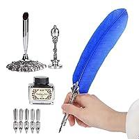 ディップペン 5個ペン先付き ペンホルダー付き 羽根ペン ヴィンテージペン 誕生日 入職祝い ギフト(ブルー)
