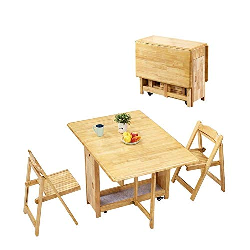 N/Z Daily Equipment 1.3M Dining Table 2 Chairs Set Folding Drop Leaf Butterfly Solid Wooden Kitchen Furniture Natural Pine (Color : White)