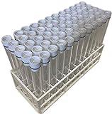 Plastic Test Tubes LTD Teströhrchen, mit weißem Deckel und Ständer, ca. 15cm lang, 60 Stück
