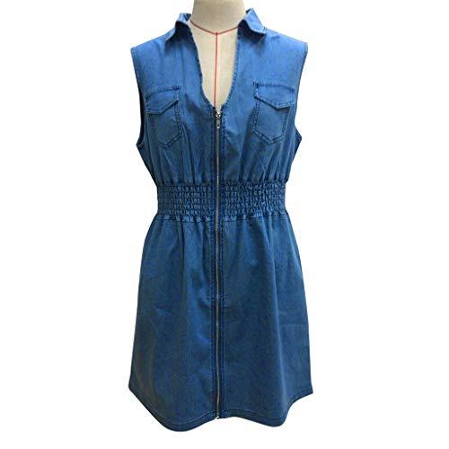 Rincr Damenkleider große Größen Plus Size Damen Sommer Ärmelloses Zip Up Casual Jeanskleid Mini Jeans Kleid