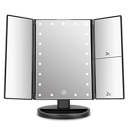 deweisn Specchio Trucco con 21 LEDs, Specchio di Vanity Trifold Ruota di 180° Ingrandimento 1x / 2X / 3X Specchio per Il con Touchscreen per Il Trucco e la Cura della Pelle (Nero)
