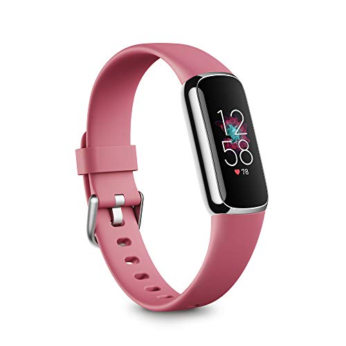 Fitbit Luxe Fitness and Wellness Tracker with Stress Management, Sleep Tracking and 24/7 Heart Rate, Orchid/Platinum Stainless Steel, One Size, S & L Bands Included