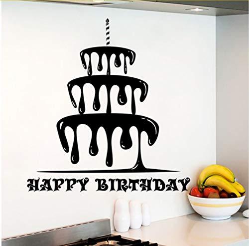 Zlxzlx Happy Birthday muursticker, afneembaar, rubber, taartdecoratie, verjaardagskaarten, winkel, muurkunst