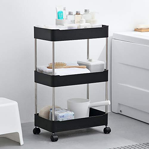 Wiisto - Organizador de almacenamiento delgado para almacenamiento móvil, para cocina, baño, lavandería, lugares estrechos (negro, 24,815,158,26 cm)