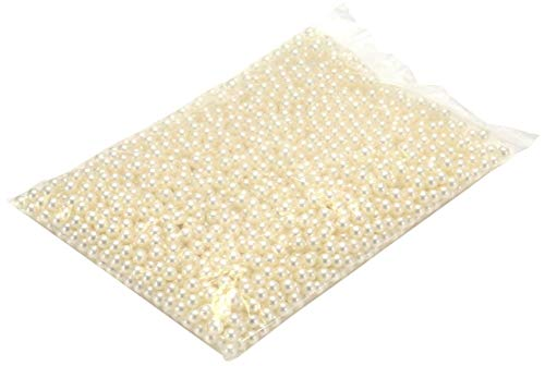 Sooyee Art Faux Pearls 2100+Pcs 6mm Ivory Loose Beads no Hole for Vase Fillers, Hold Brush Lipstick Eyeliner, Table Scatter, Wedding, Birthday Party Home Decoration