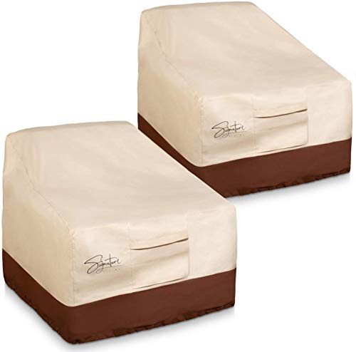 Signature Living Set of 2 Outdoor Waterproof Patio Chair Covers, 600D UV-Coated Polyester Outdoor Furniture Covers (Tan, Standard 32 Inch)