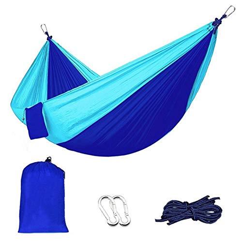 Nanna Acampar Hamaca de Tela de paracaídas Hamaca de Dos Colores Costura de Nylon al Aire Libre oscilación Hamaca Que Acampa Portable (Size : Blue)