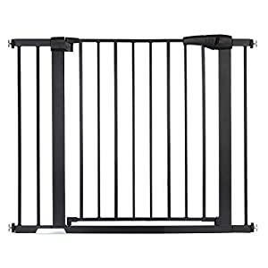 """KINGSO Auto Close Safety Baby Gate 29.5″-40.5"""" Extra Wide Tall Child Gate Easy Walk Thru Dog Gate for Stairs Doorways House. Include 4 Pressure Bolts, 4 Wall Cups, 2.75"""" & 5.5"""" Extension, Black"""
