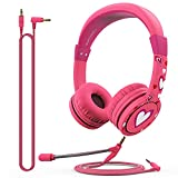 FosPower Kids Headphones with Microphone & 3.5mm Detachable Cables (Max 85dB) Adjustable On Ear Audio Headphones with Laced Tangle Free Cable for Home School, Online School, Travel - Pink