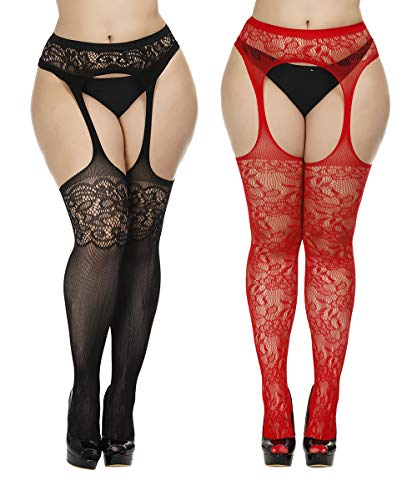 Womens Fishnet Suspender Tights plus size patterned pantyhose Stockings 2 Pack (Black and Red, Plus Size)