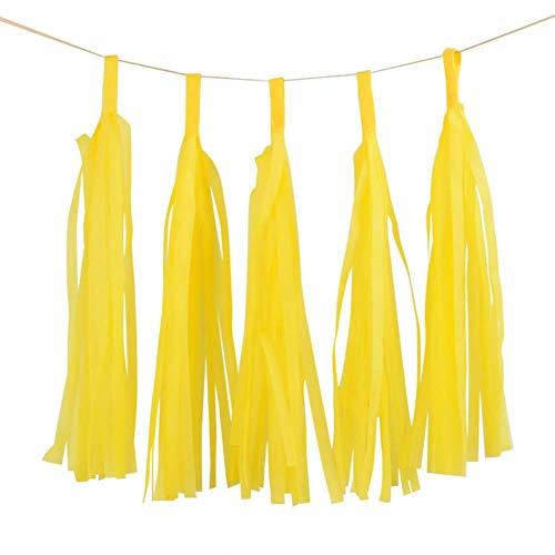 Paper Decoration 5Pcs 14Inch Gold Silver Tissue Paper Tassel Christmas Decoration Birthday DIY Hanging Garland Wedding Event Party Supplies,Yellow
