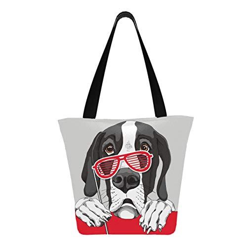 Deutsche Dogge Dog Red Grill Brille 11 × 7 × 13 Zoll maschinenwaschbare robuste Polyester Damen Tasche Faltbare wiederverwendbare wiederverwendbare Einkaufstaschen für Lebensmittel zum